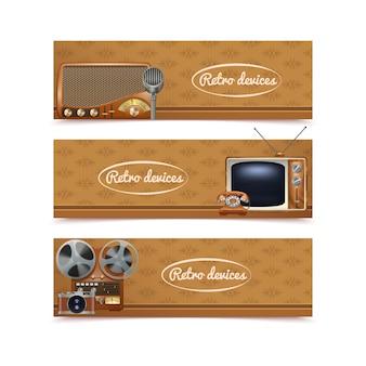 ビンテージラジオテレビと写真のカメラ入りレトロなデバイスバナー