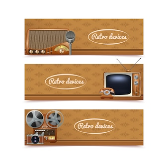 Retro devices banners set with vintage radio tv and photo camera