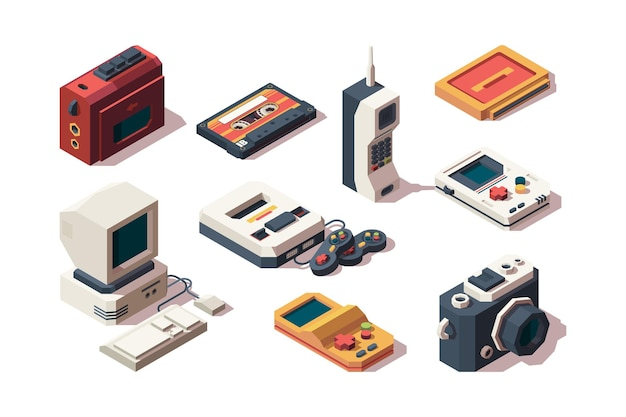 Retro devices. cell phone old smartphone cameras photo vhs music and game console player computer isometric collection.