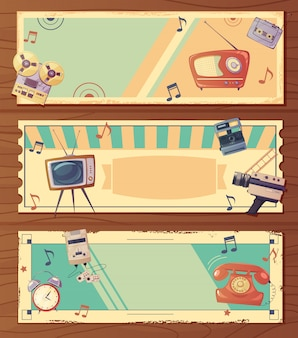 Retro devices horizontal banners