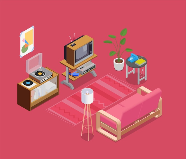 Retro devices isometric concept with tv lamp and telephone
