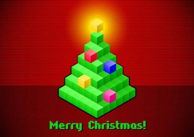 Retro digital christmas tree card