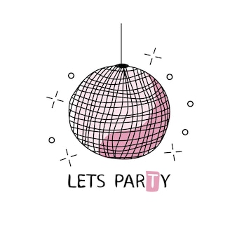 Retro disco ball. vector illustration for your graphic design. design for t-shirt and prints