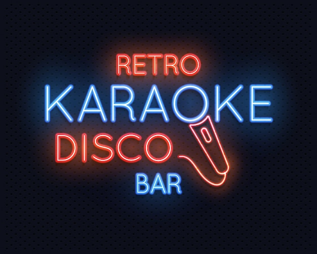 Retro disco karaoke bar neon light sign
