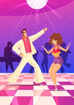 Ретро дискотека с парой, танцующей плоскую иллюстрацию