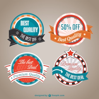 Retro discount labels set Free Vector