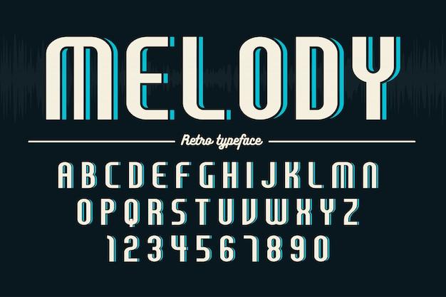 Ретро дисплей шрифт, алфавит, набор символов, типография