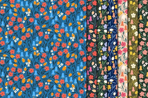 レトロな頭が変な花のシームレスなパターン