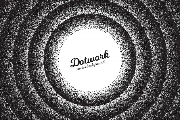 Retro dotwork texture stippled circular abstract background