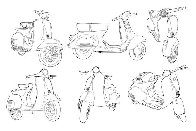Retro drawing motor scooter vintage background