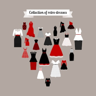 Retro dresses icons in heart shape