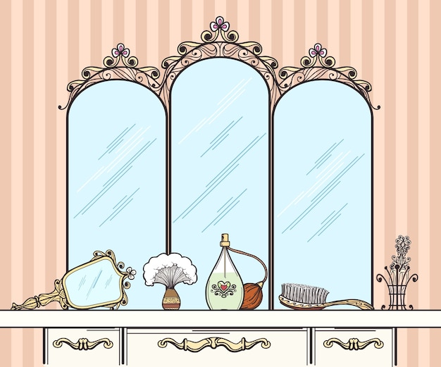 Retro dressing table vector. mirror and hairbrush, perfumes and cosmetics. furniture interior dressing table with mirror in retro style vector  illustration