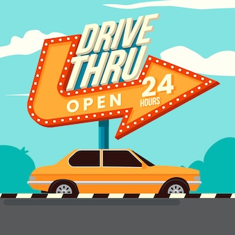 Retro drive thru sign illustration