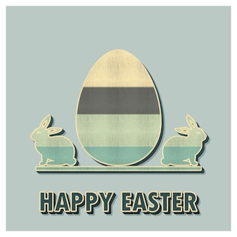 Retro easter egg and rabbits illustration for holiday background. creative and vintage style card