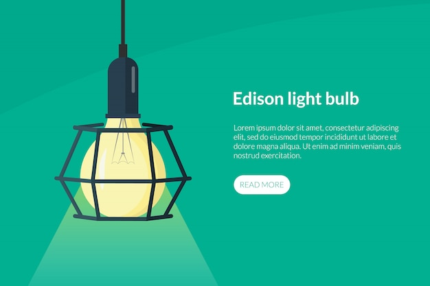 Retro edison light bulb landing page template with text and button