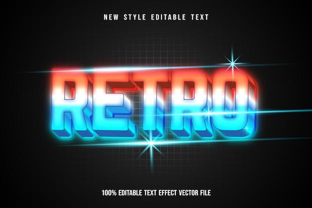 Ретро редактируемый текстовый эффект в стиле неонового света