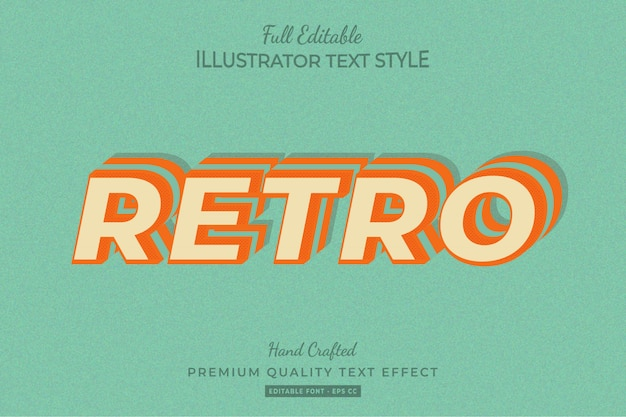 Эффект стиля ретро редактируемого текста премиум