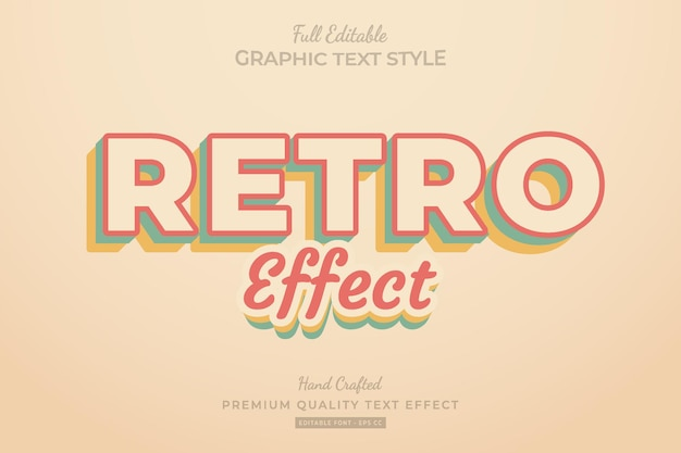 Retro effect editable text effect font style