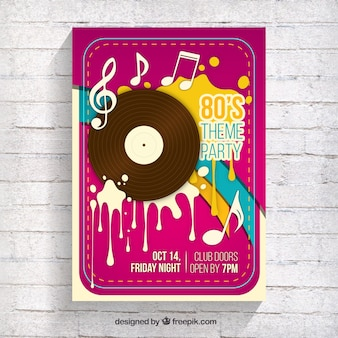 Retro eighties party brochure with vinyl