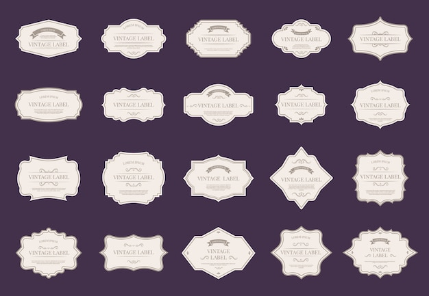 Retro elegant labels. vintage ornamental shapes, royal decorative frames, and premium wedding  tag labels   icon set. victorian paper sale badges with classic elegant frames