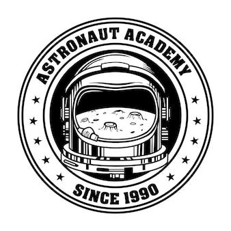 Emblema retrò per illustrazione vettoriale astronauta accademia. riflessione della luna dell'annata nel casco