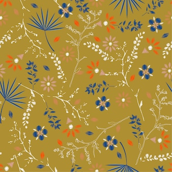 Retro embroidery colorful floral seamless pattern  vector
