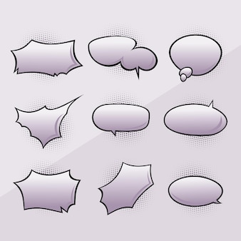 レトロな空の漫画の泡と要素のセット。