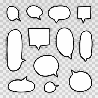 Retro empty comic bubbles and elements set with black halftone shadows on transparent