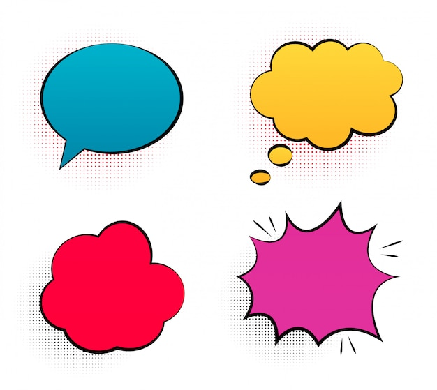 Retro empty comic  pop art speech bubbles set in vintage   with black halftone shadows.  illustration