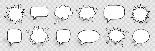 Retro empty comic speech bubbles set with black halftone shadows. vintage design, pop art style