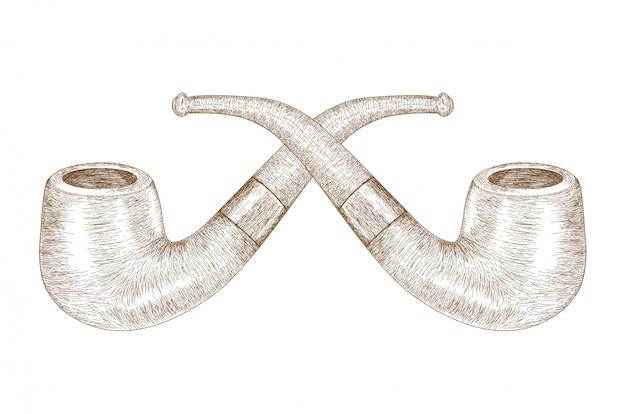 Retro engraving illustration movember cigarette pipe