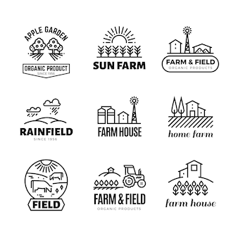 Retro farm and organic products vector emblems and logos. vintage line farming labels