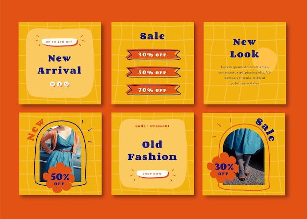 Retro fashion colorful square social media template for instagram, facebook, carousels.