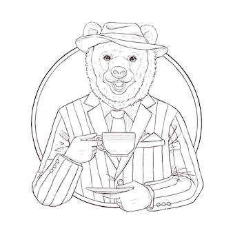 Retro fashion hand draw  illustration of bear, black and white le