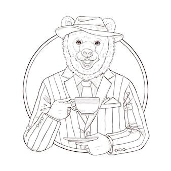 クマ、黒と白のルのレトロなファッション手描きイラスト Premiumベクター