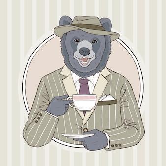 クマのレトロなファッション手描きイラスト