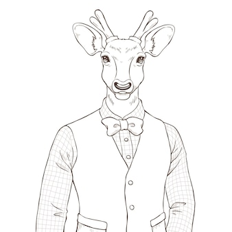 사슴, 흑백 르의 복고풍 패션 손으로 그리는 그림