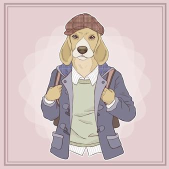 레트로 패션 손으로 그리는 강아지의 그림