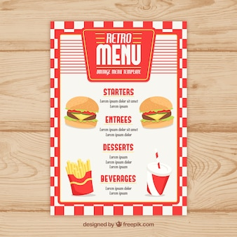 Retro fast food menu template