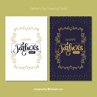 Retro father's day cards with golden details