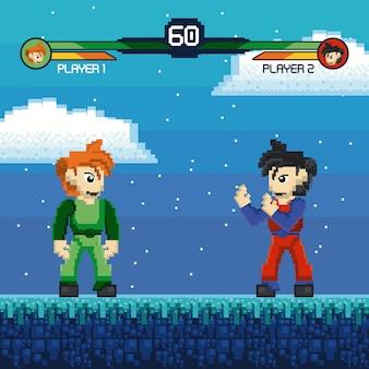 Retro fight videogame pixelated scenery