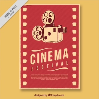 Retro film poster with antique camera