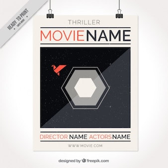Retro film poster with hexagonal shape
