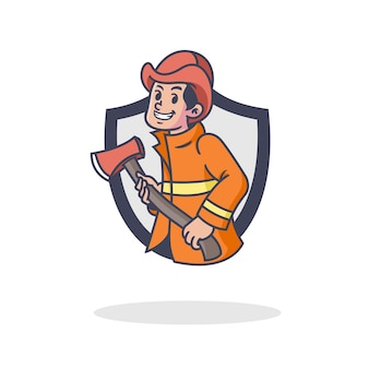 レトロな消防士のマスコットのロゴ