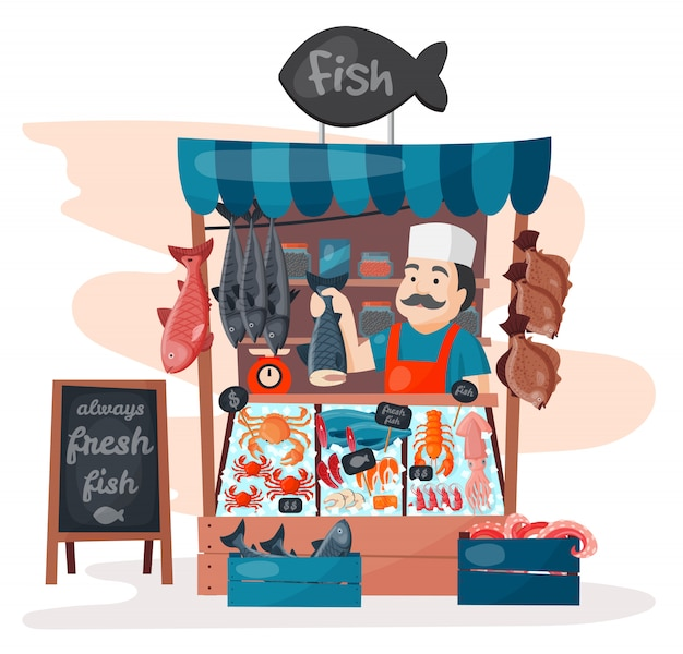 Retro fish street shop store market with freshness seafood in fridge traditional asian meal and man dealer business person meat seller