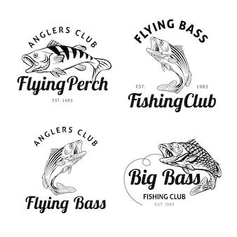Collezione di badge pesca retrò