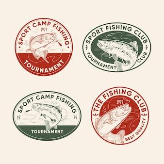 Pacchetto distintivo di pesca retrò