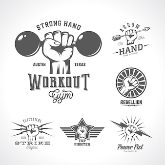 Retro fists logo templates set. different abstract concepts with hand emblem or sign. vintage style and typography.