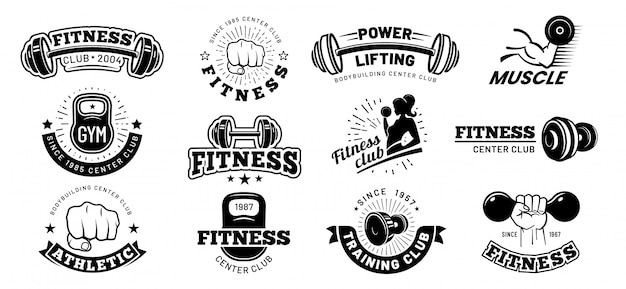 레트로 피트니스 배지. 체육관 엠블럼, 스포츠 라벨 및 블랙 스텐실 보디 빌딩 배지 벡터 세트