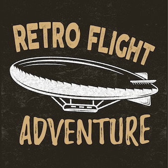 Retro flight concept. airship tee. dirigible travel illustration